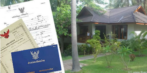 thai house and ownership deeds and official land and house documents